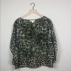 Michael Kors Sheer Snakeskin Leopard Top (S)